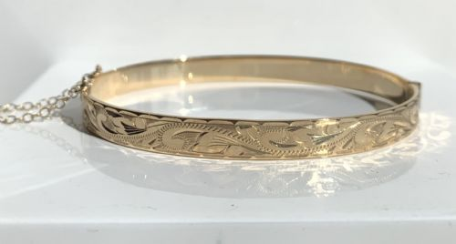 Yellow Gold Solid Engraved Bangle